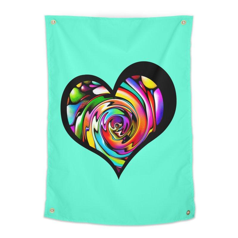 Rainbow Heart Swirl Home Tapestry by Allison Low Art