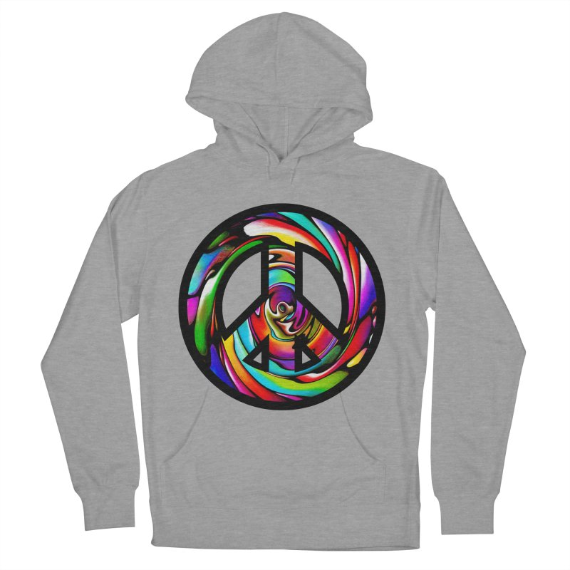 Rainbow Peace Swirl Men's Pullover Hoody by Allison Low Art