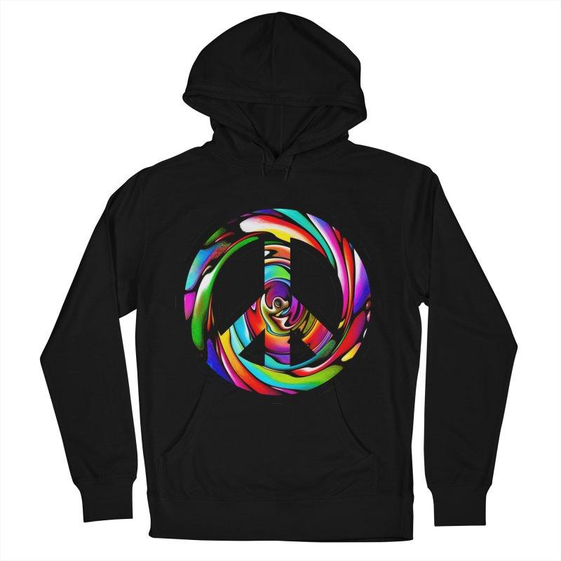 Rainbow Peace Swirl Men's Pullover Hoody by Allison Low Art