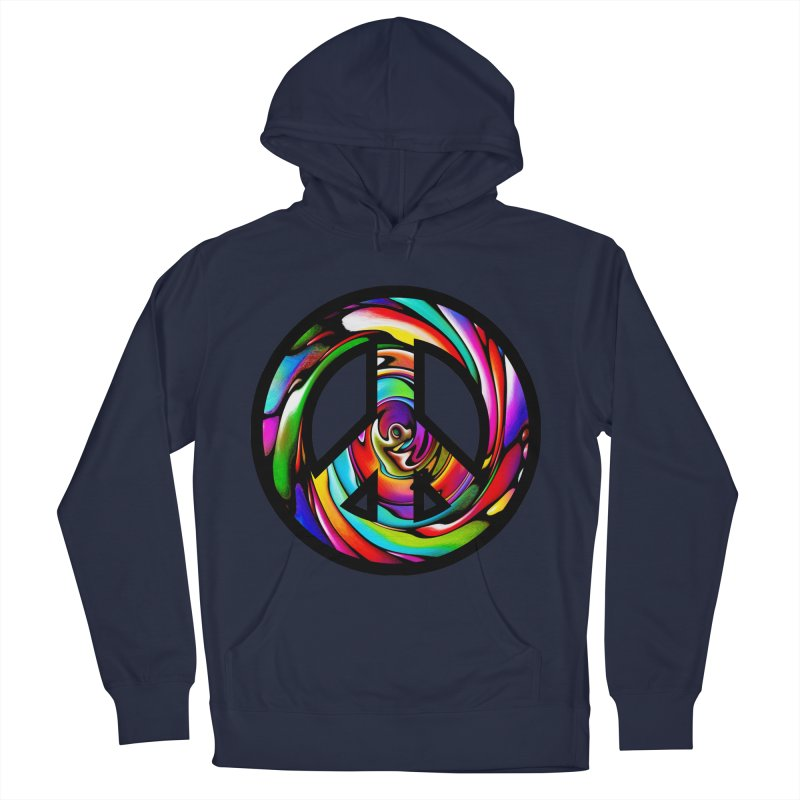 Rainbow Peace Swirl Men's French Terry Pullover Hoody by Allison Low Art