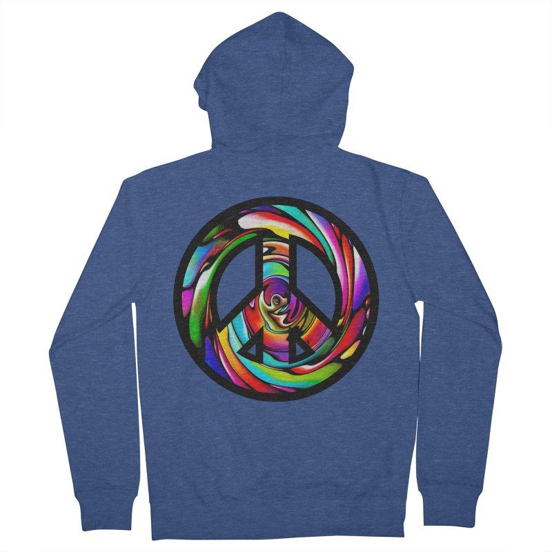 Rainbow Peace Swirl Women's French Terry Zip-Up Hoody by Allison Low Art