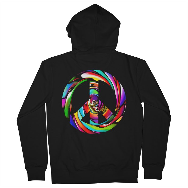 Rainbow Peace Swirl Women's French Terry Zip-Up Hoody by Allison Low Art