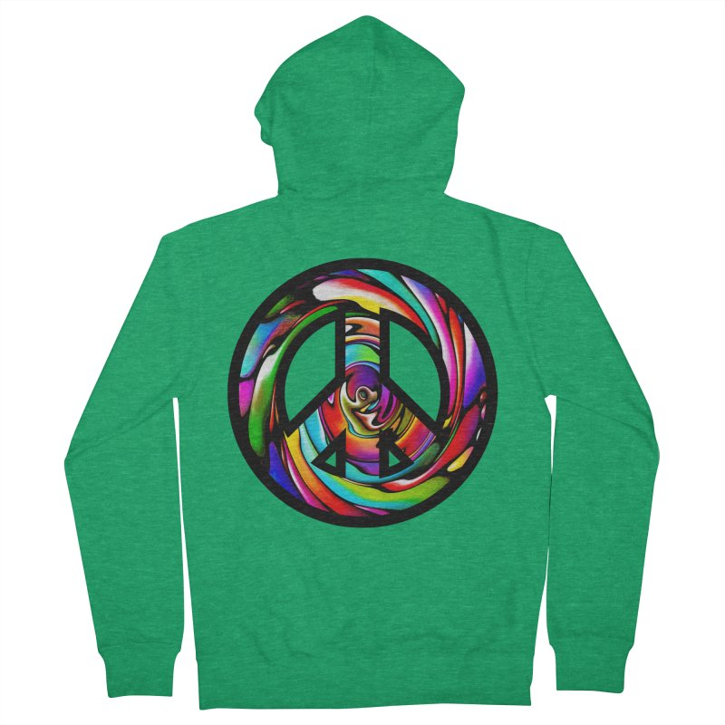 Rainbow Peace Swirl Men's Zip-Up Hoody by Allison Low Art
