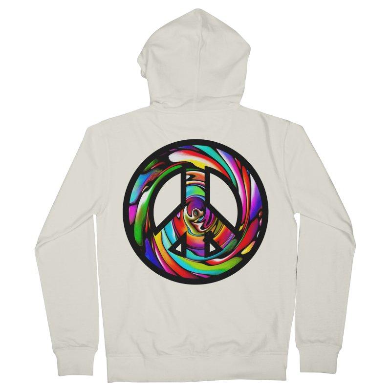 Rainbow Peace Swirl Men's Zip-Up Hoody by Allison Low Art
