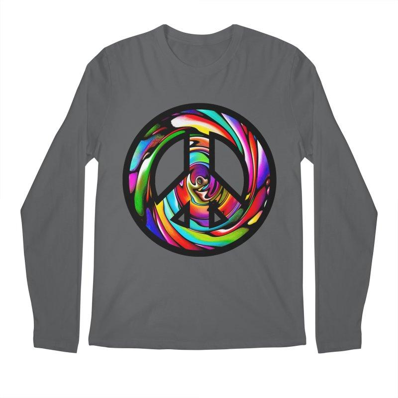 Rainbow Peace Swirl Men's Longsleeve T-Shirt by Allison Low Art