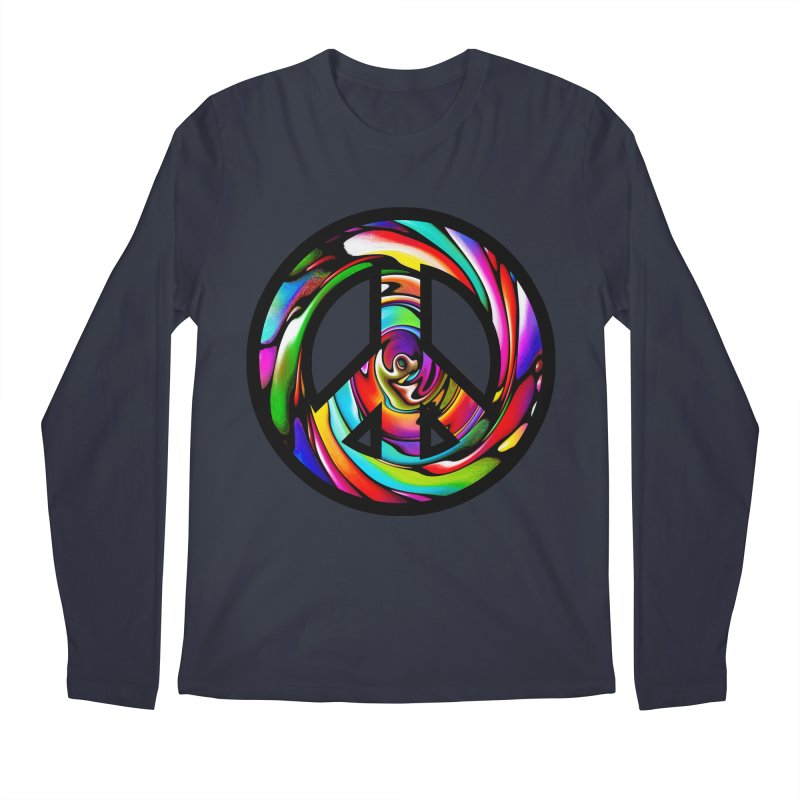 Rainbow Peace Swirl Men's Regular Longsleeve T-Shirt by Allison Low Art
