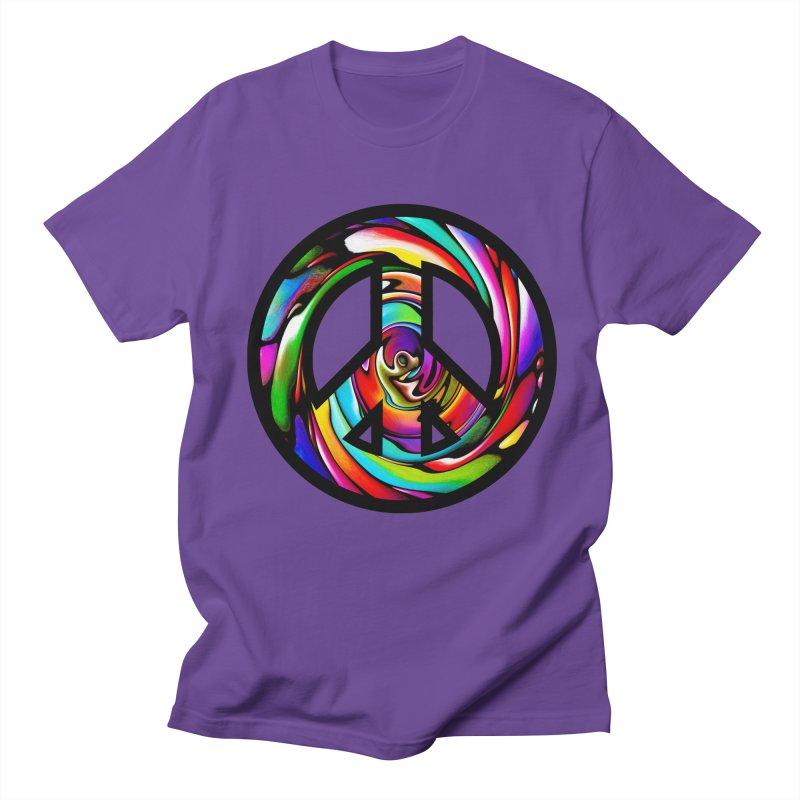 Rainbow Peace Swirl Men's T-Shirt by Allison Low Art