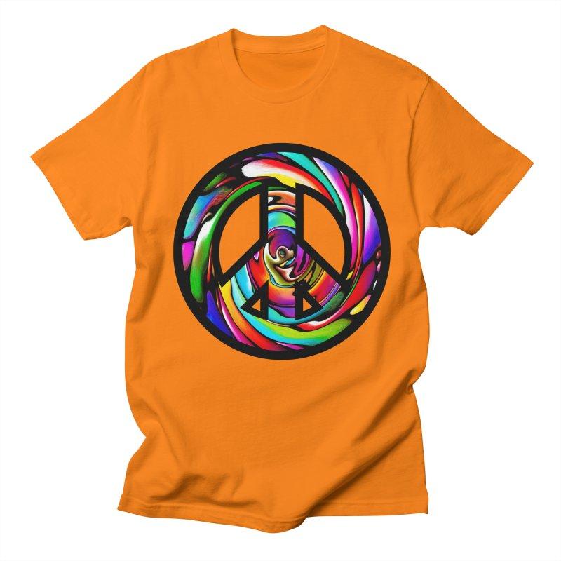 Rainbow Peace Swirl Men's Regular T-Shirt by Allison Low Art