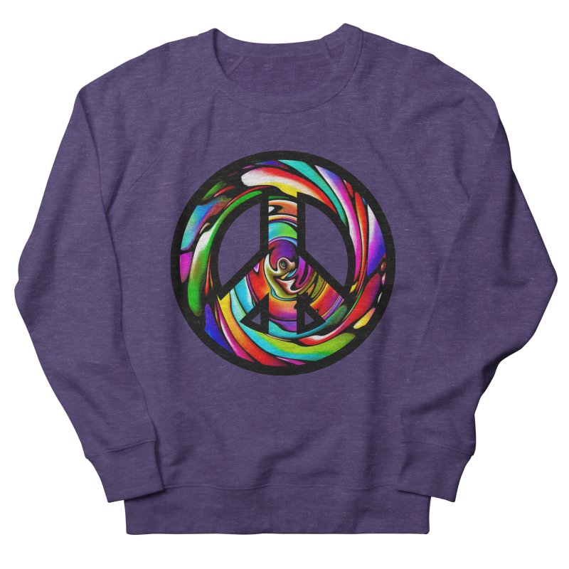Rainbow Peace Swirl Women's French Terry Sweatshirt by Allison Low Art