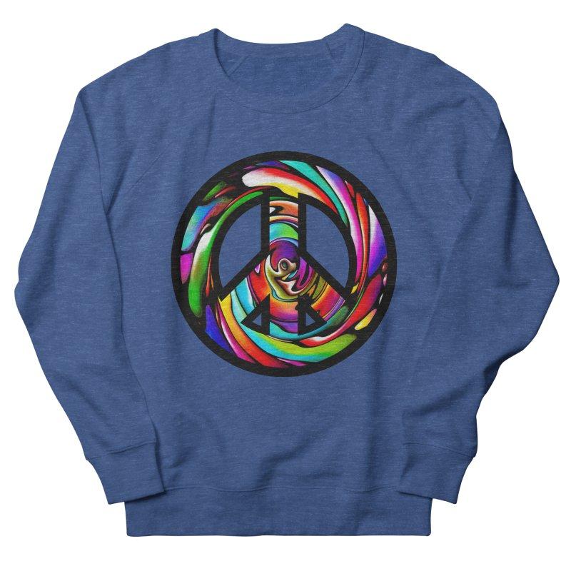 Rainbow Peace Swirl Men's French Terry Sweatshirt by Allison Low Art