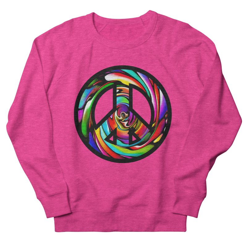 Rainbow Peace Swirl Men's French Terry Sweatshirt by Allison Low Art