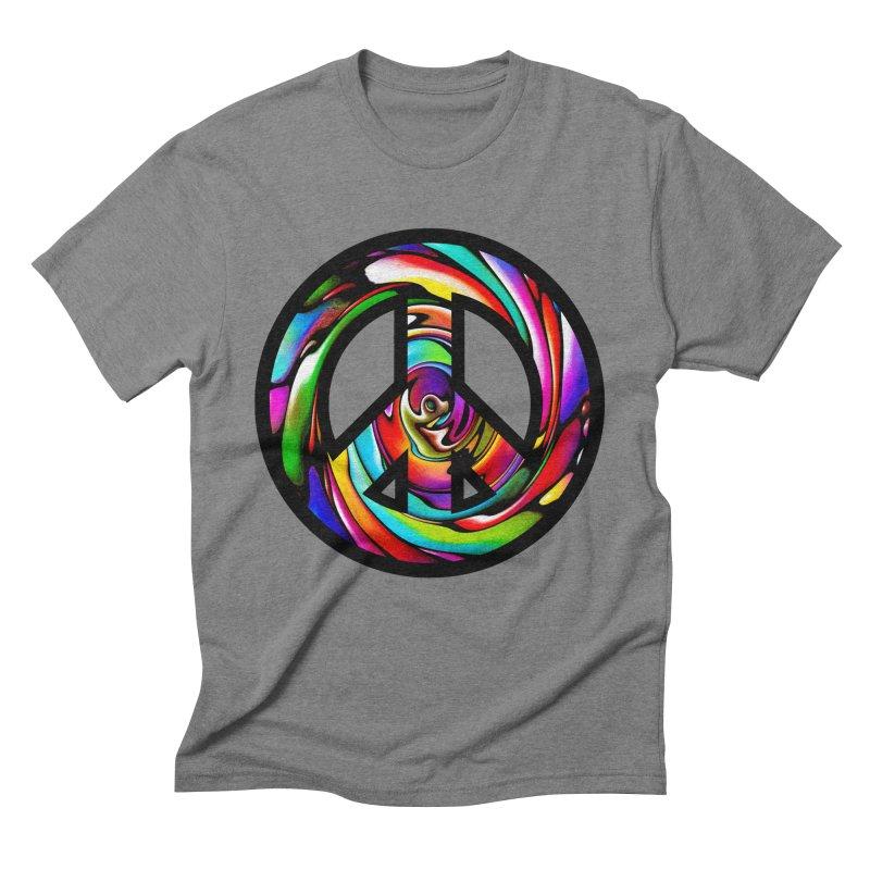 Rainbow Peace Swirl Men's Triblend T-shirt by Allison Low Art