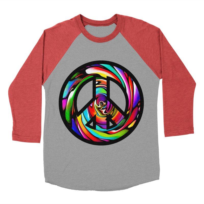 Rainbow Peace Swirl Women's Baseball Triblend T-Shirt by Allison Low Art