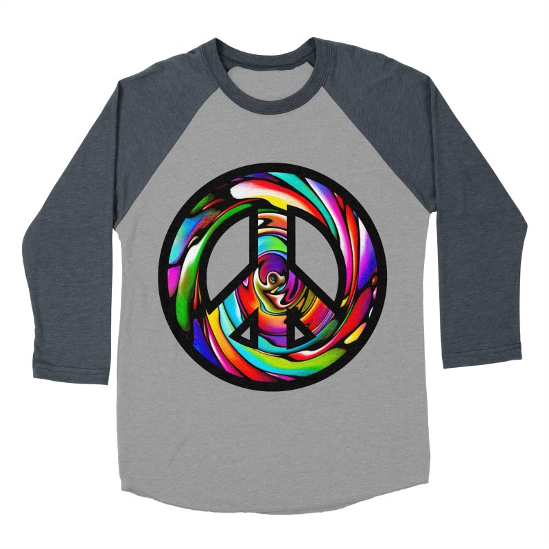 Rainbow Peace Swirl Women's Baseball Triblend T-Shirt by Allison Low Art