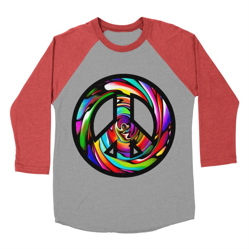 Rainbow Peace Swirl Men's Baseball Triblend T-Shirt by Allison Low Art
