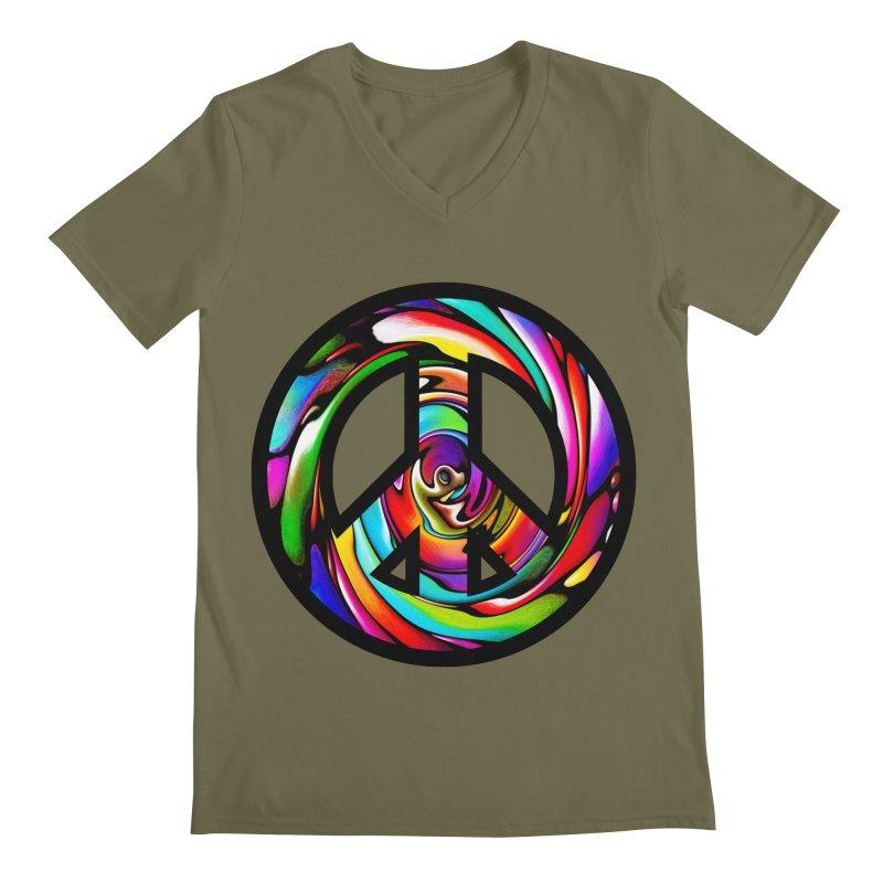 Rainbow Peace Swirl Men's Regular V-Neck by Allison Low Art