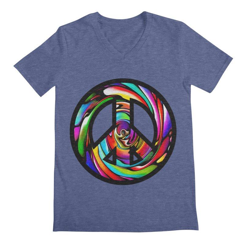 Rainbow Peace Swirl Men's V-Neck by Allison Low Art