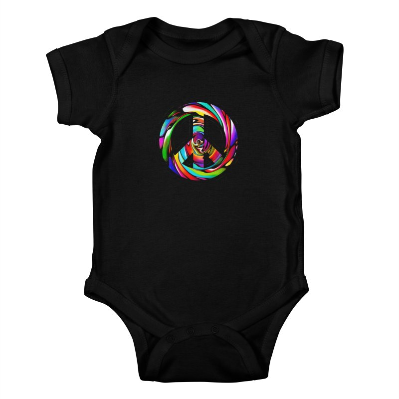 Rainbow Peace Swirl Kids Baby Bodysuit by Allison Low Art