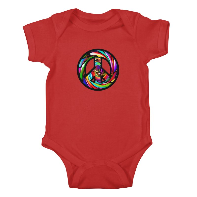 Rainbow Peace Swirl Kids Baby Bodysuit by Allison Low Art