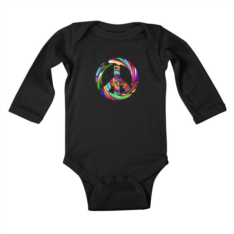 Rainbow Peace Swirl Kids Baby Longsleeve Bodysuit by Allison Low Art