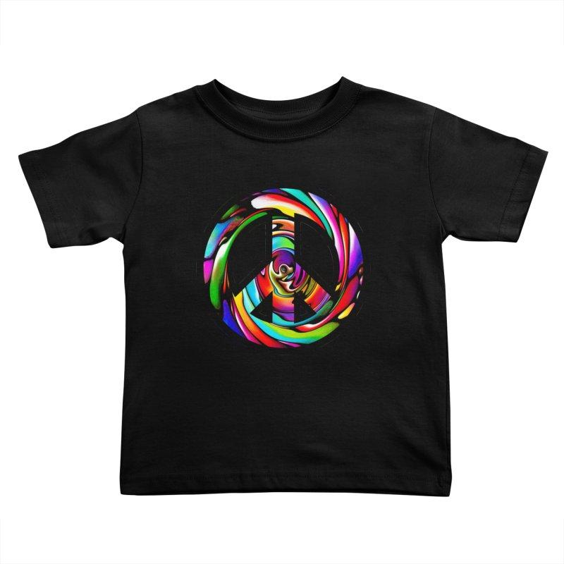 Rainbow Peace Swirl Kids Toddler T-Shirt by Allison Low Art