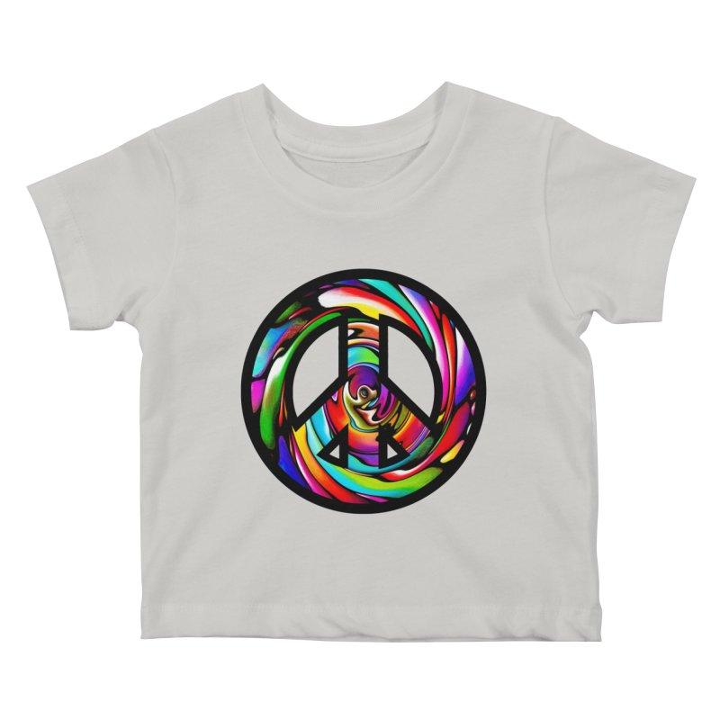 Rainbow Peace Swirl Kids Baby T-Shirt by Allison Low Art