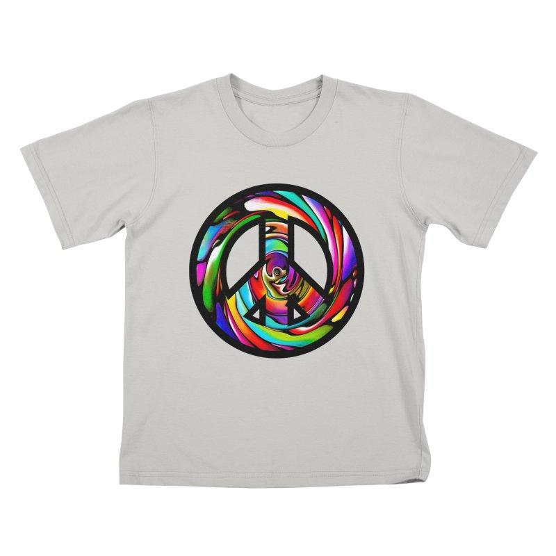 Rainbow Peace Swirl Kids T-shirt by Allison Low Art