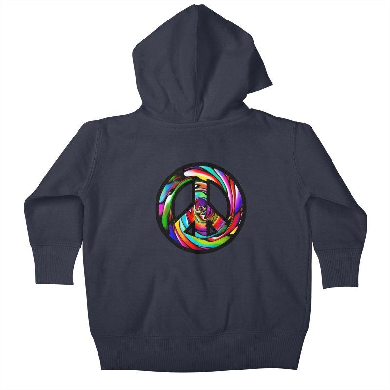 Rainbow Peace Swirl Kids Baby Zip-Up Hoody by Allison Low Art