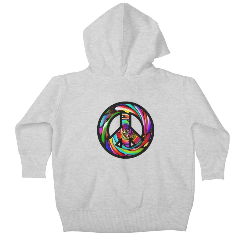 Rainbow Peace Swirl Kids Baby Zip-Up Hoody by Allison Low Art