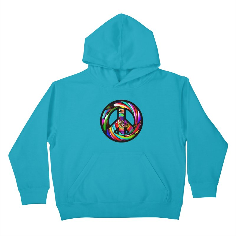 Rainbow Peace Swirl Kids Pullover Hoody by Allison Low Art