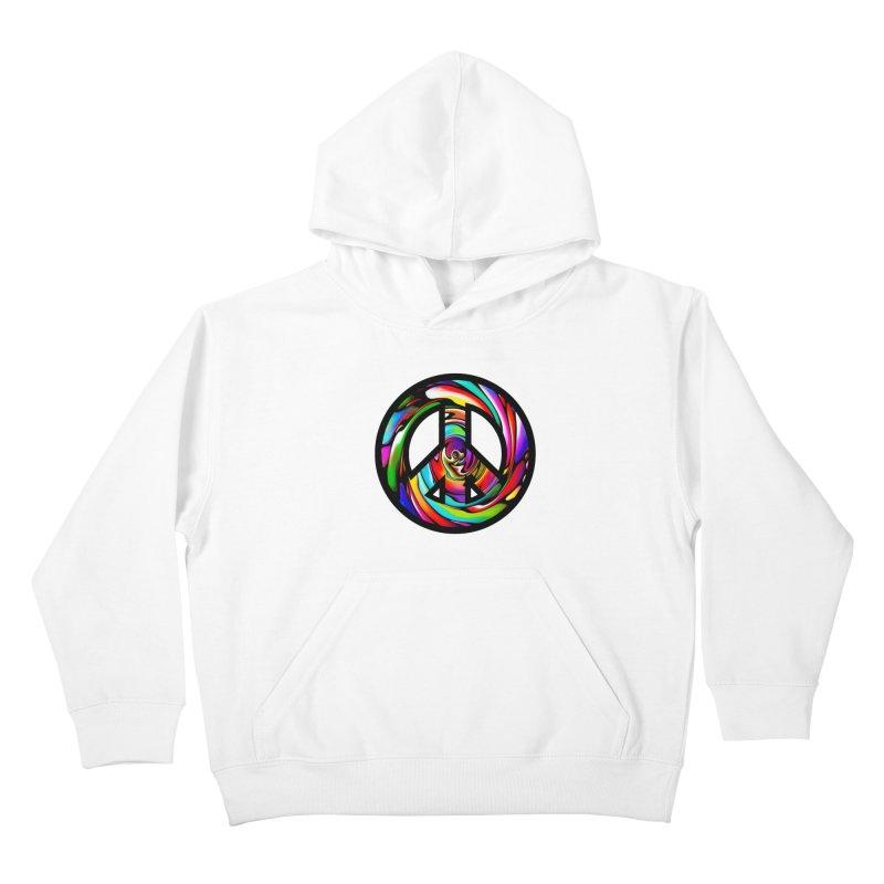 Rainbow Peace Swirl Kids Pullover Hoody by Allison Low Art