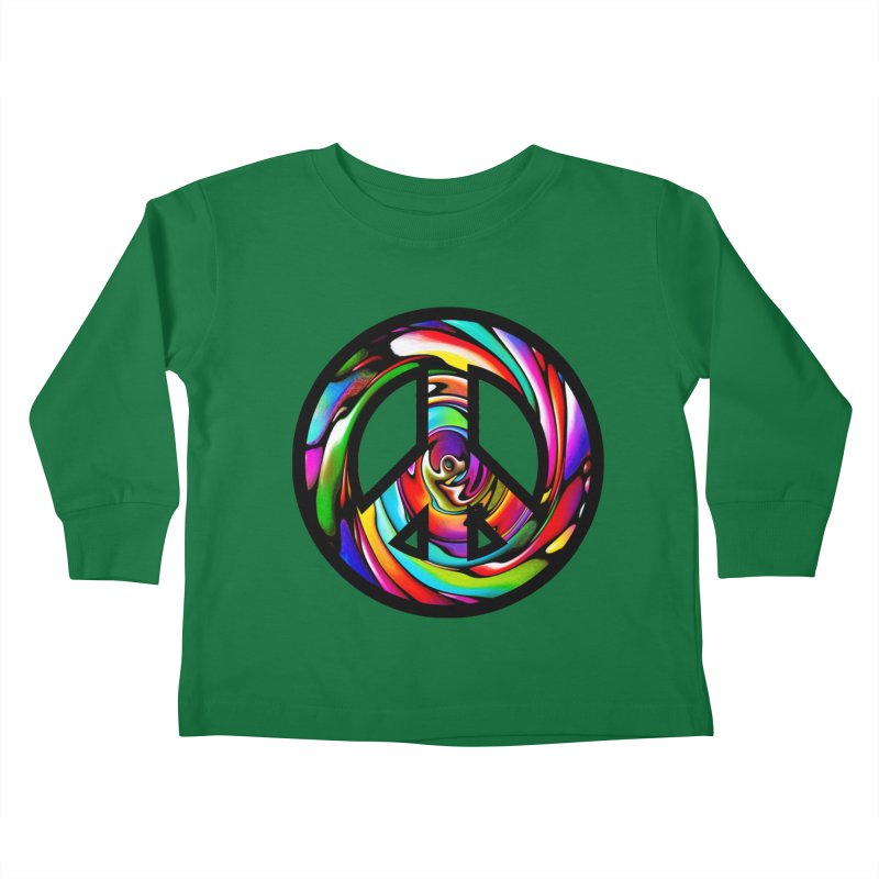 Rainbow Peace Swirl Kids Toddler Longsleeve T-Shirt by Allison Low Art