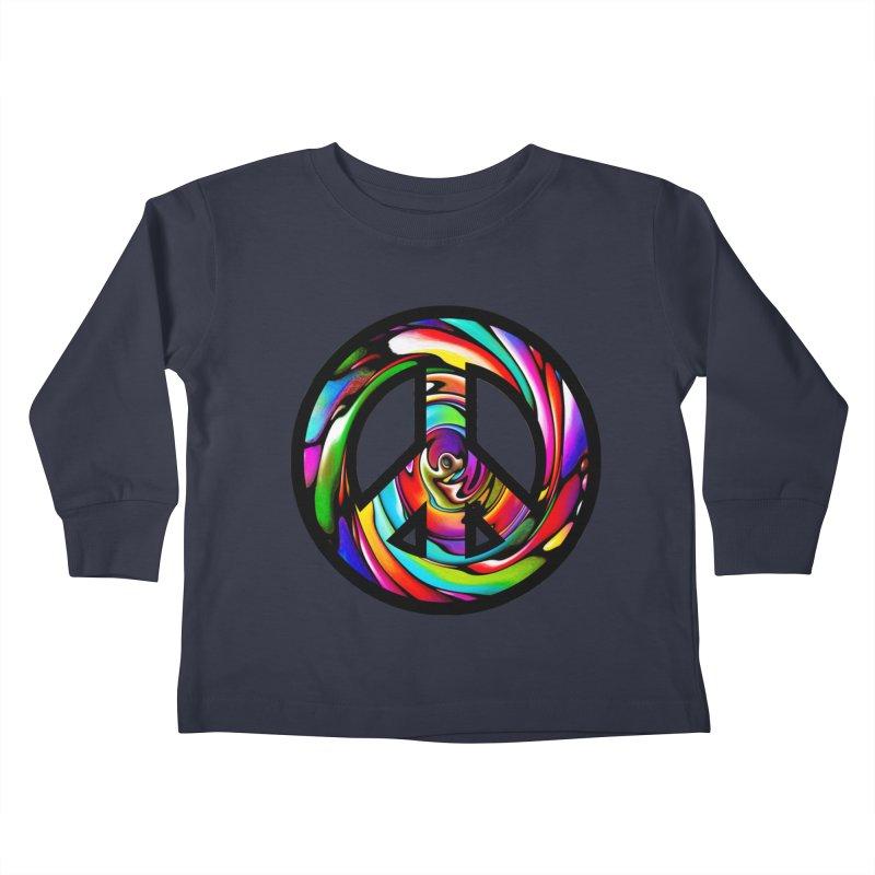 Rainbow Peace Swirl Kids Toddler Longsleeve T-Shirt by Allison Low Art