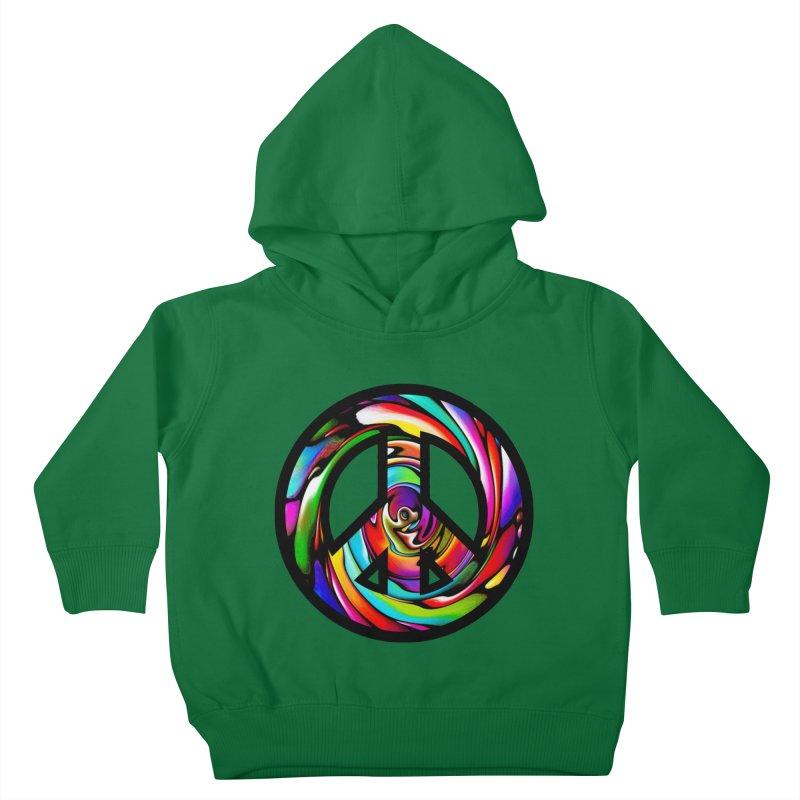 Rainbow Peace Swirl Kids Toddler Pullover Hoody by Allison Low Art