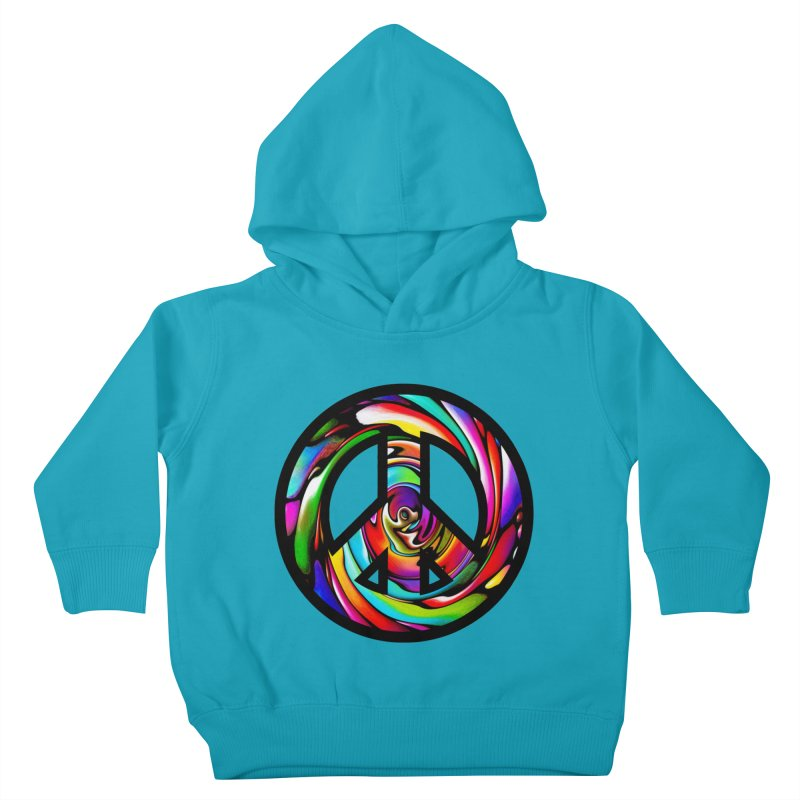 Rainbow Peace Swirl Kids Toddler Pullover Hoody by Allison Low Art