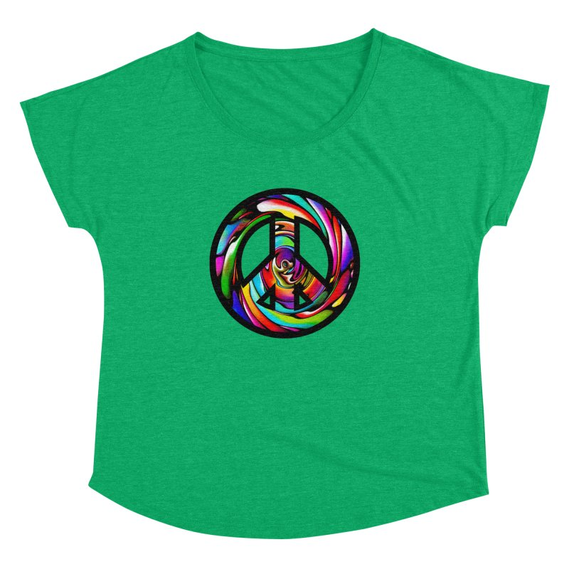 Rainbow Peace Swirl Women's Dolman by Allison Low Art