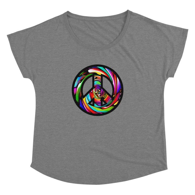 Rainbow Peace Swirl Women's Dolman Scoop Neck by Allison Low Art