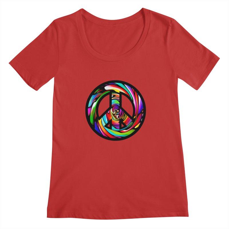 Rainbow Peace Swirl Women's Scoopneck by Allison Low Art