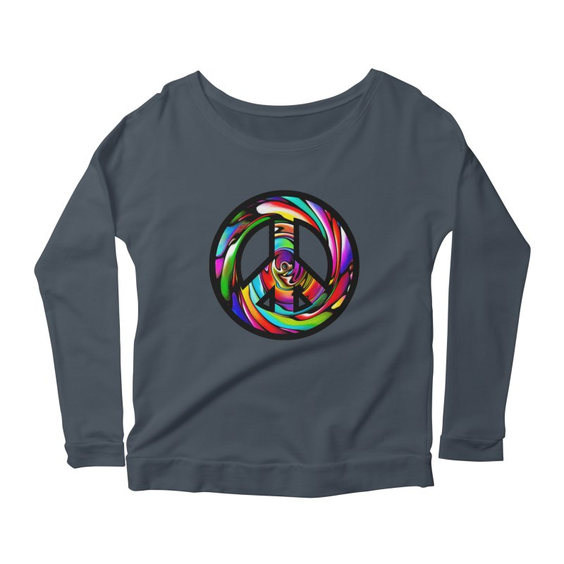 Rainbow Peace Swirl Women's Longsleeve Scoopneck  by Allison Low Art