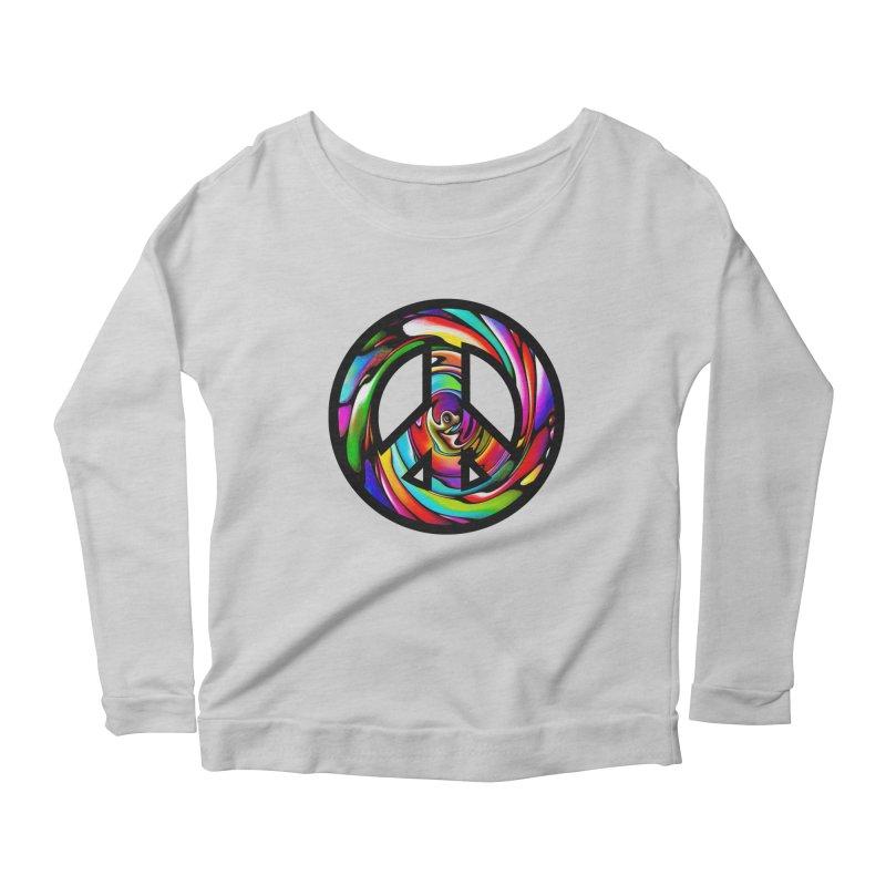 Rainbow Peace Swirl Women's Longsleeve Scoopneck  by Allison Low Art