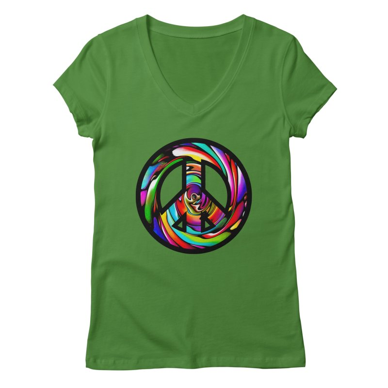 Rainbow Peace Swirl Women's V-Neck by Allison Low Art