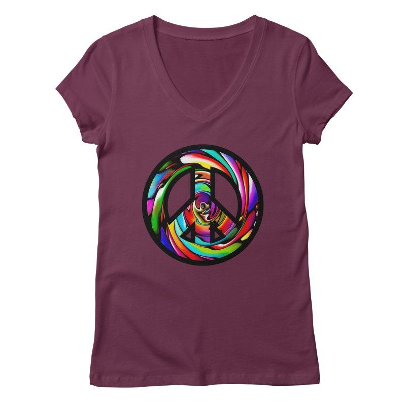 Rainbow Peace Swirl Women's V-Neck by Allison Low Art