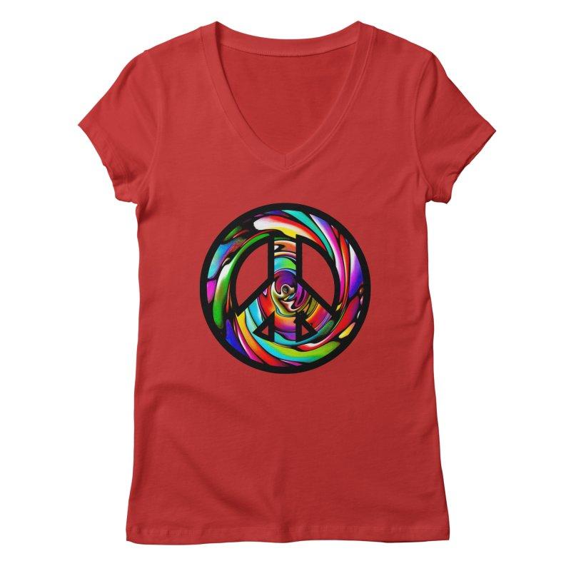 Rainbow Peace Swirl Women's Regular V-Neck by Allison Low Art