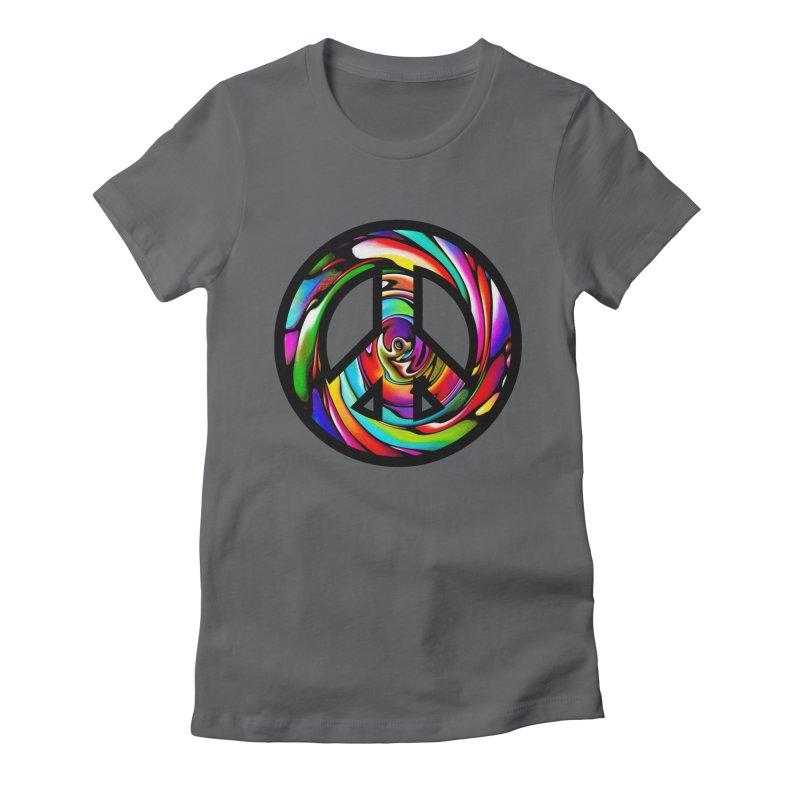 Rainbow Peace Swirl Women's Fitted T-Shirt by Allison Low Art