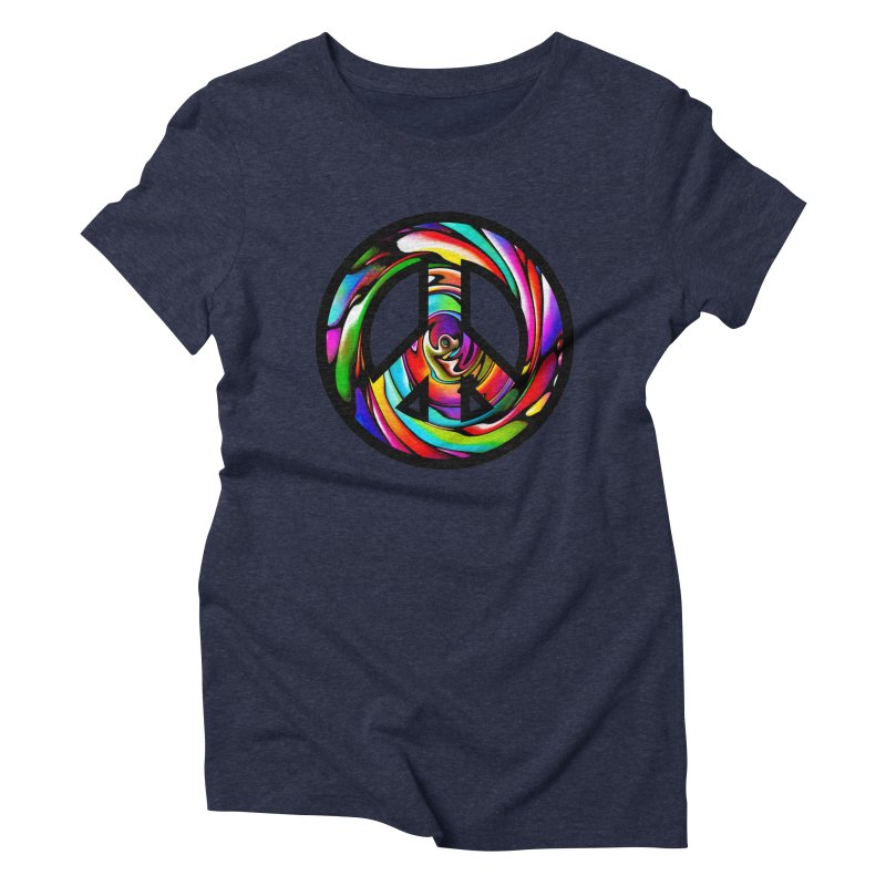 Rainbow Peace Swirl Women's Triblend T-shirt by Allison Low Art