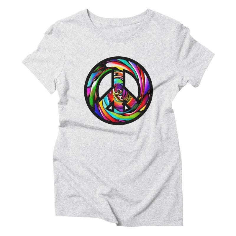 Rainbow Peace Swirl Women's Triblend T-Shirt by Allison Low Art