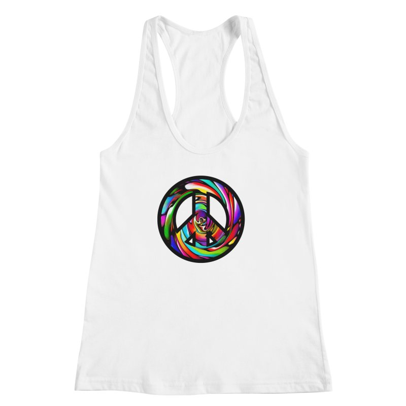 Rainbow Peace Swirl Women's Racerback Tank by Allison Low Art