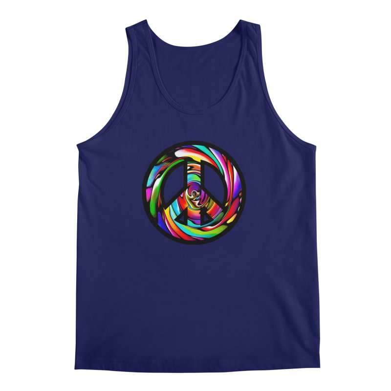 Rainbow Peace Swirl Men's Regular Tank by Allison Low Art