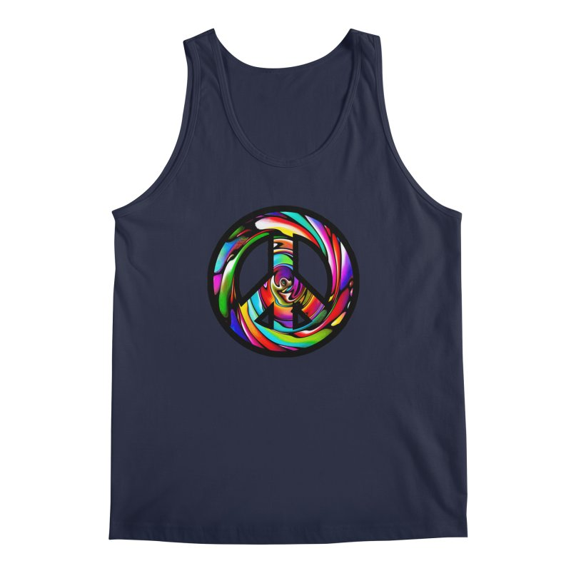 Rainbow Peace Swirl Men's Tank by Allison Low Art