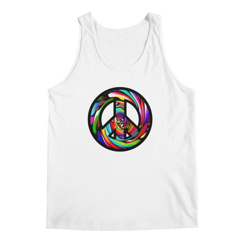 Rainbow Peace Swirl Men's Tank by Allison Low Art